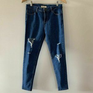 Firefly Womens Blue Distressed Mid Rise Jeans